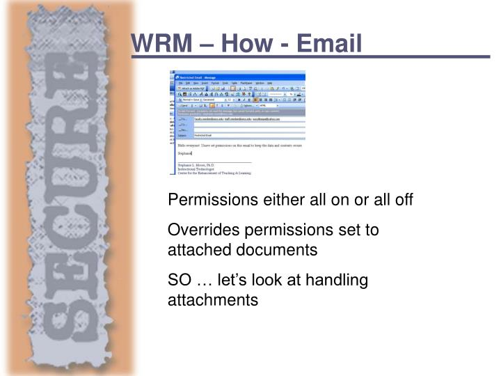 WRM – How - Email