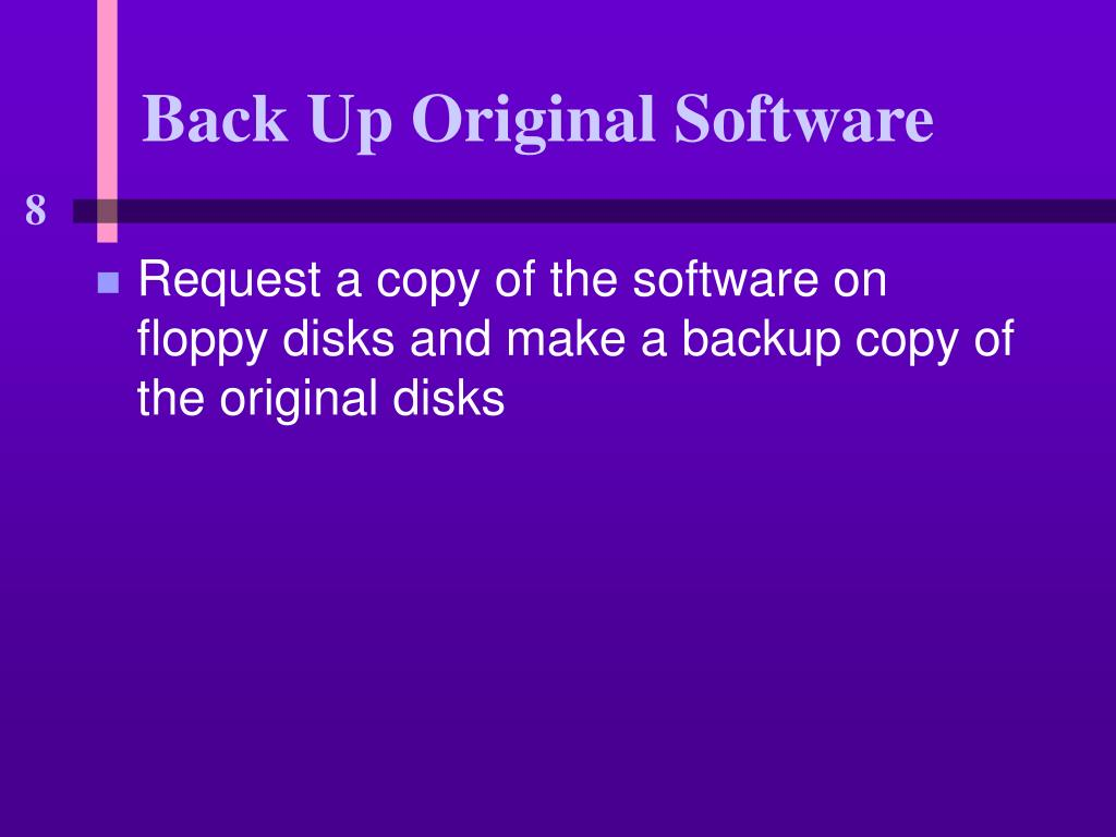 Back Up Original Software