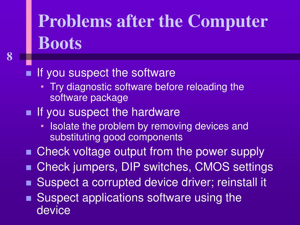 Problems after the Computer Boots