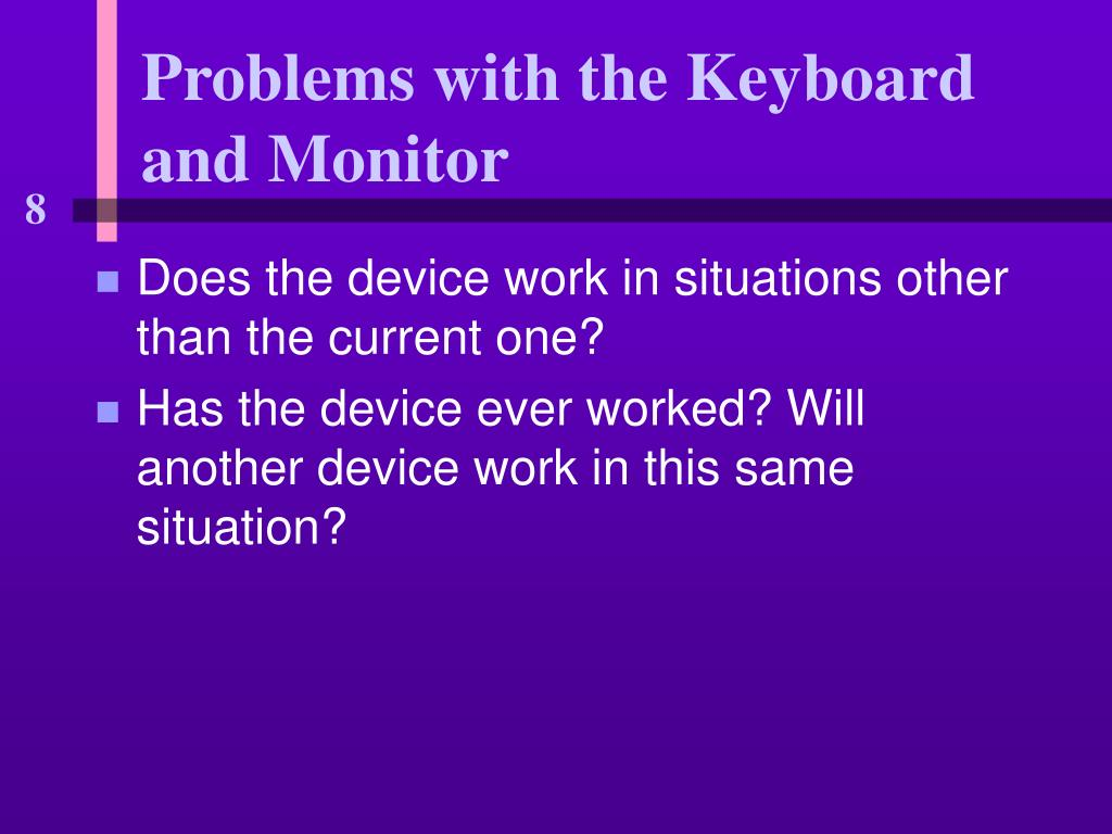 Problems with the Keyboard and Monitor