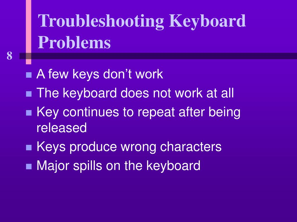 Troubleshooting Keyboard Problems