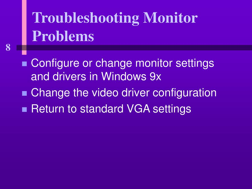 Configure or change monitor settings and drivers in Windows 9x