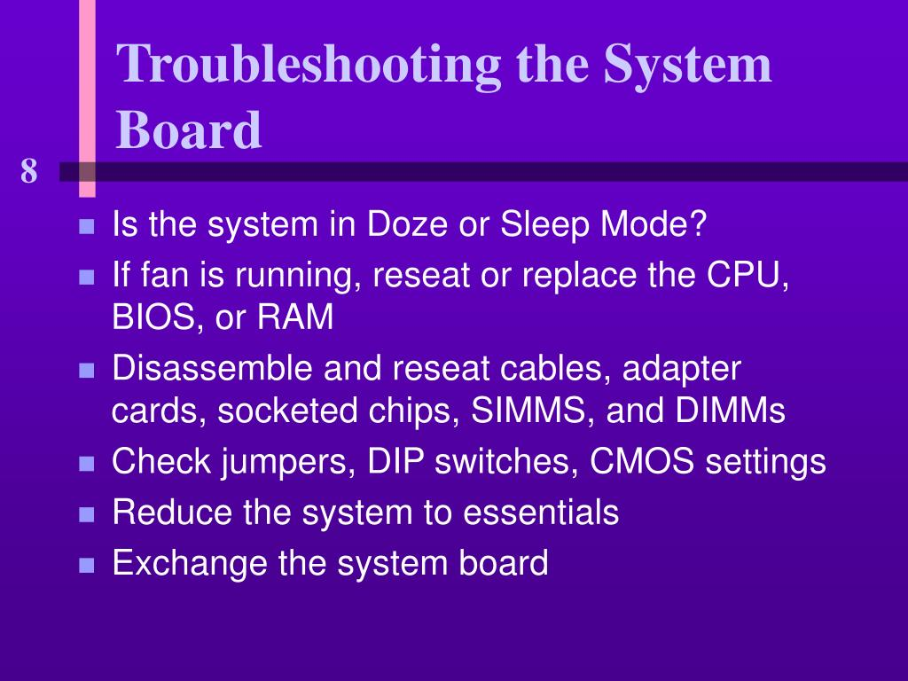 Troubleshooting the System Board
