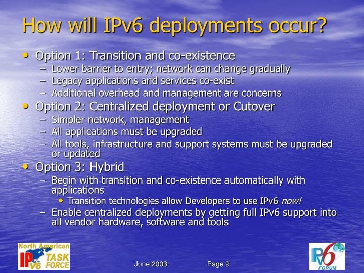 How will IPv6 deployments occur?