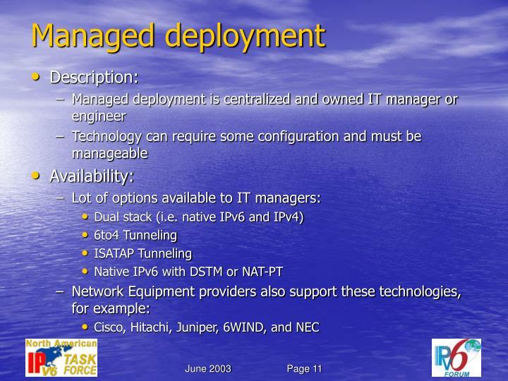 Managed deployment