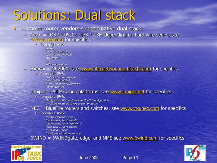 Solutions: Dual stack
