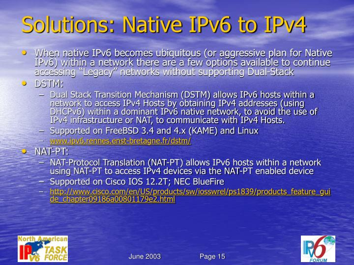 Solutions: Native IPv6 to IPv4
