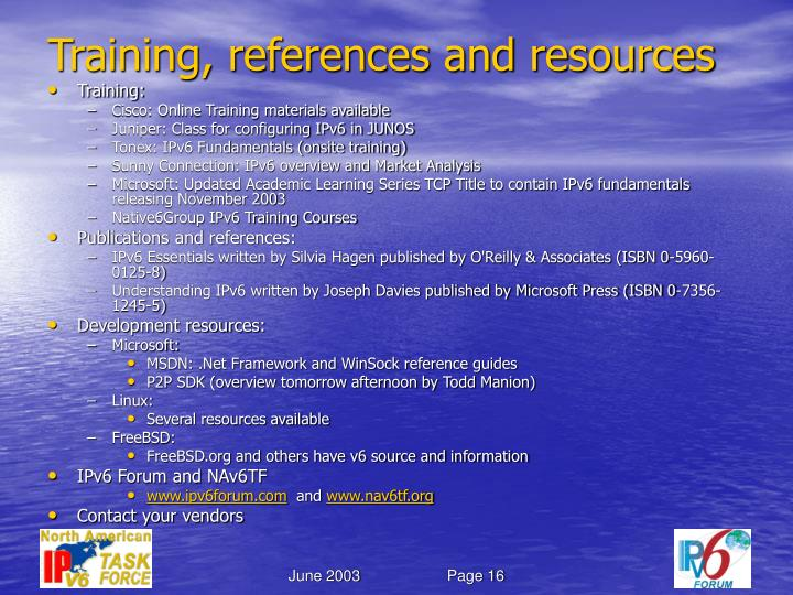 Training, references and resources