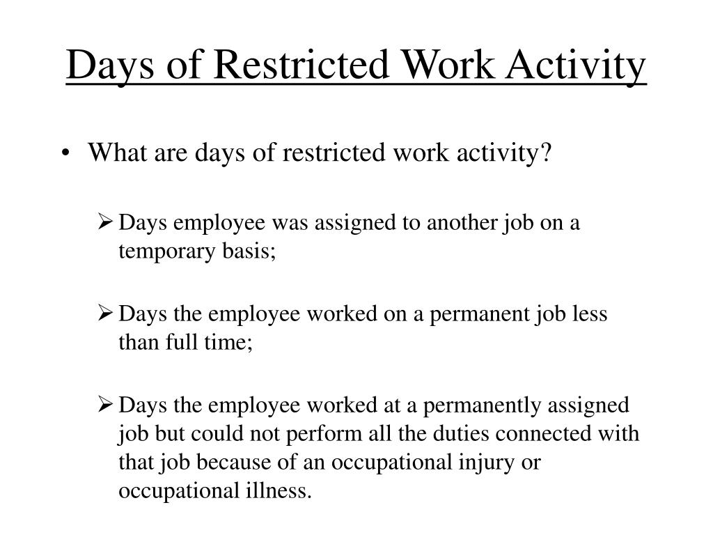 Days of Restricted Work Activity