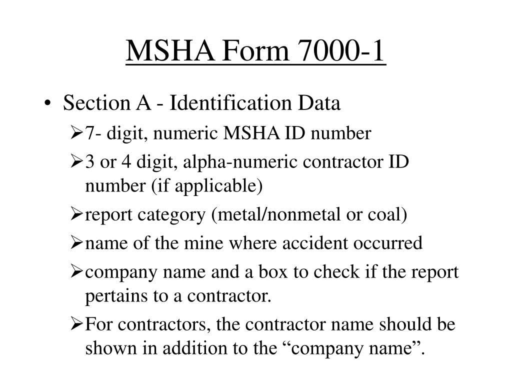 MSHA Form 7000-1
