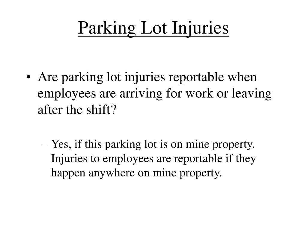 Parking Lot Injuries