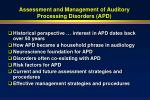 assessment and management of auditory processing disorders apd