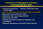assessment and management of auditory processing disorders apd17