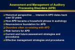assessment and management of auditory processing disorders apd34