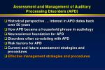 assessment and management of auditory processing disorders apd62