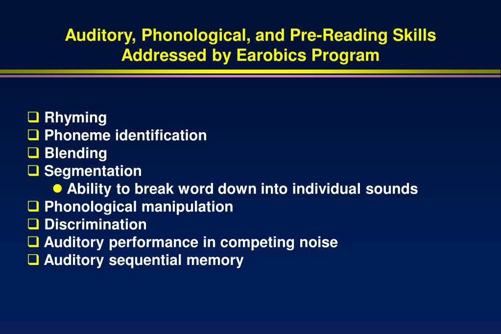 Auditory, Phonological, and Pre-Reading Skills
