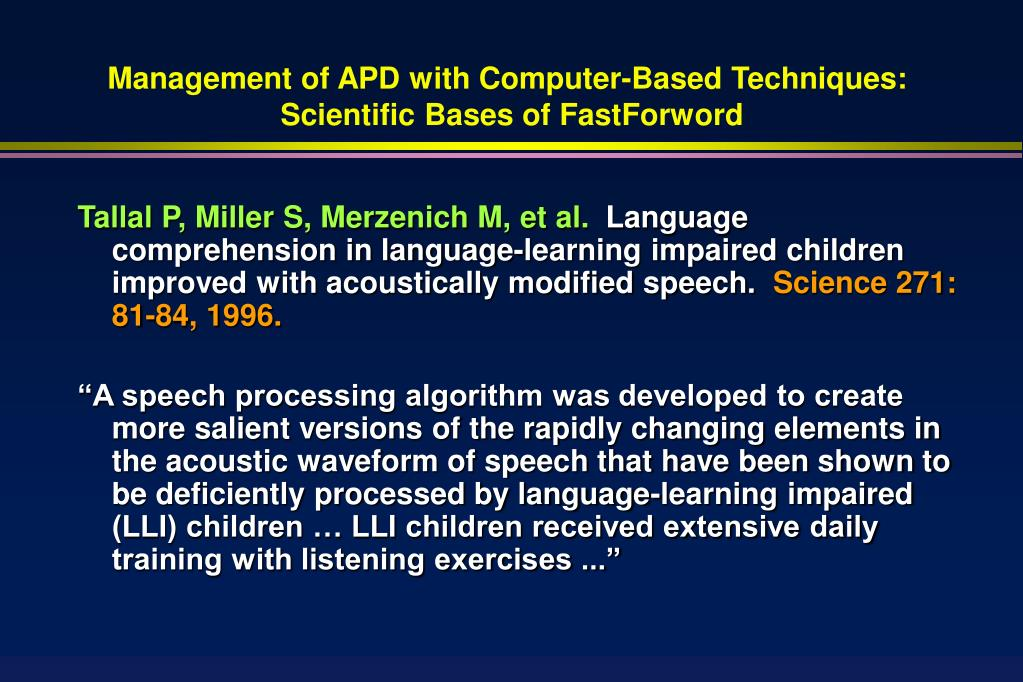 Management of APD with Computer-Based Techniques: