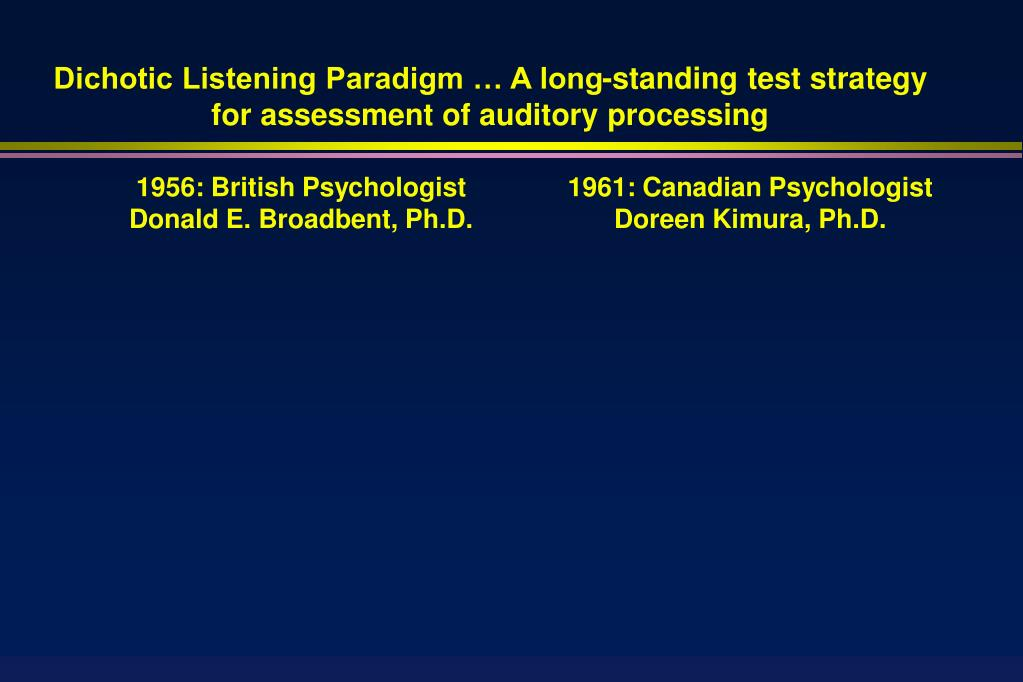 Dichotic Listening Paradigm … A long-standing test strategy for assessment of auditory processing