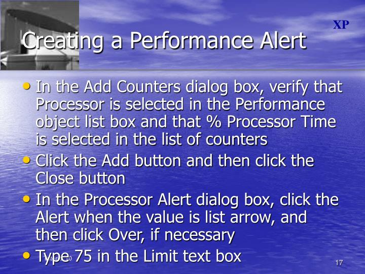 Creating a Performance Alert