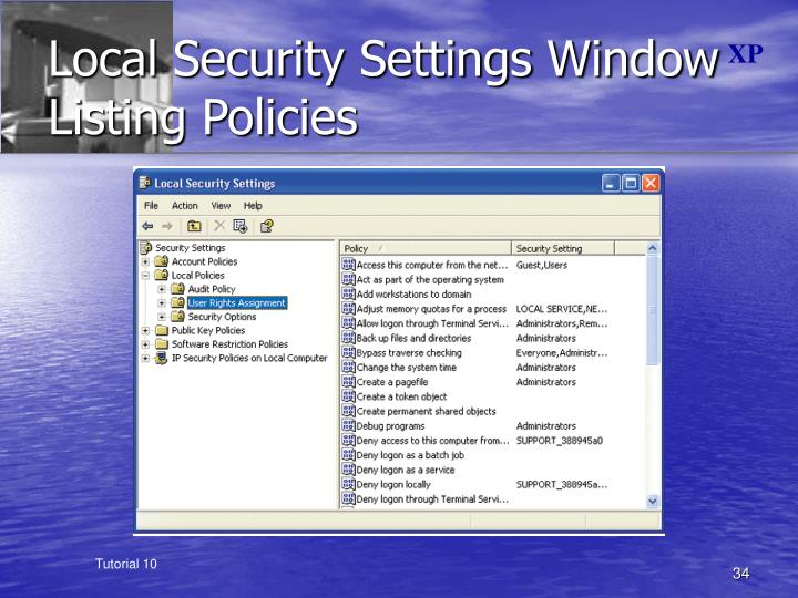 Local Security Settings Window Listing Policies