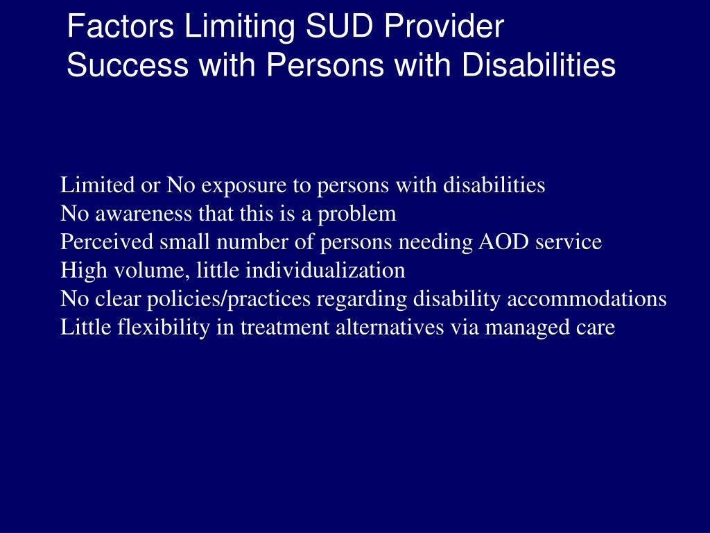 Factors Limiting SUD Provider