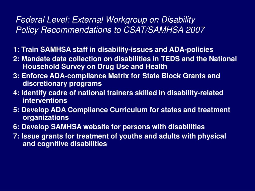 Federal Level: External Workgroup on Disability Policy Recommendations to CSAT/SAMHSA 2007