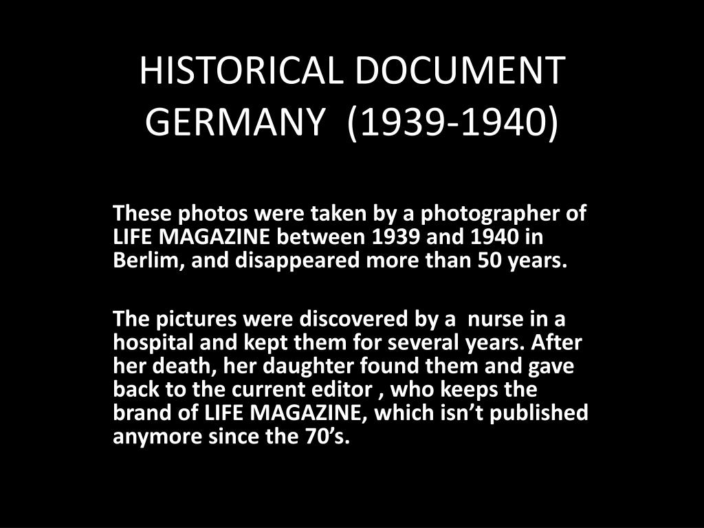 historical document germany 1939 1940