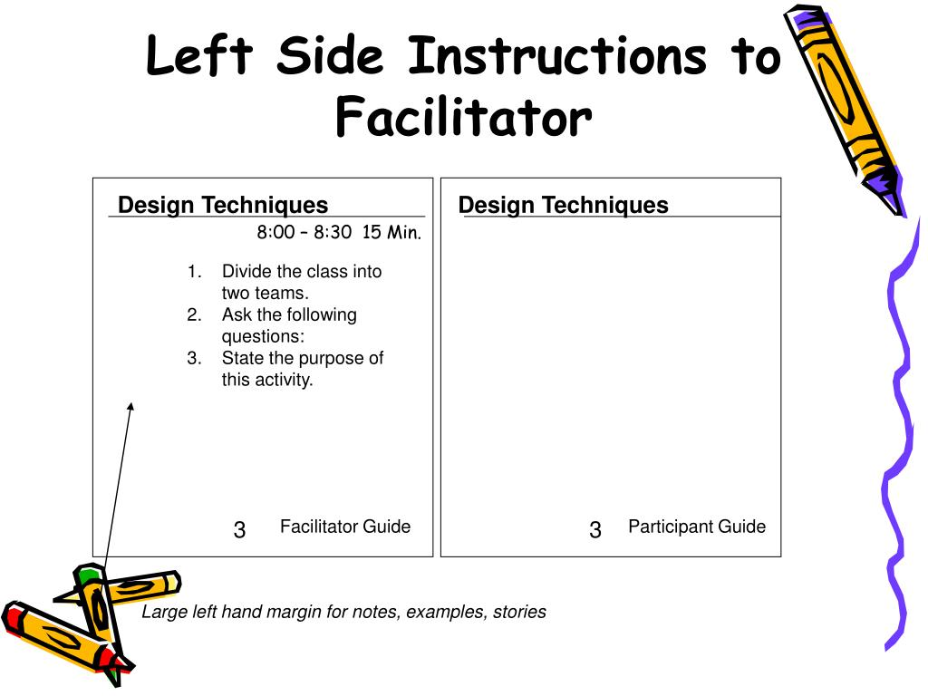 Left Side Instructions to Facilitator