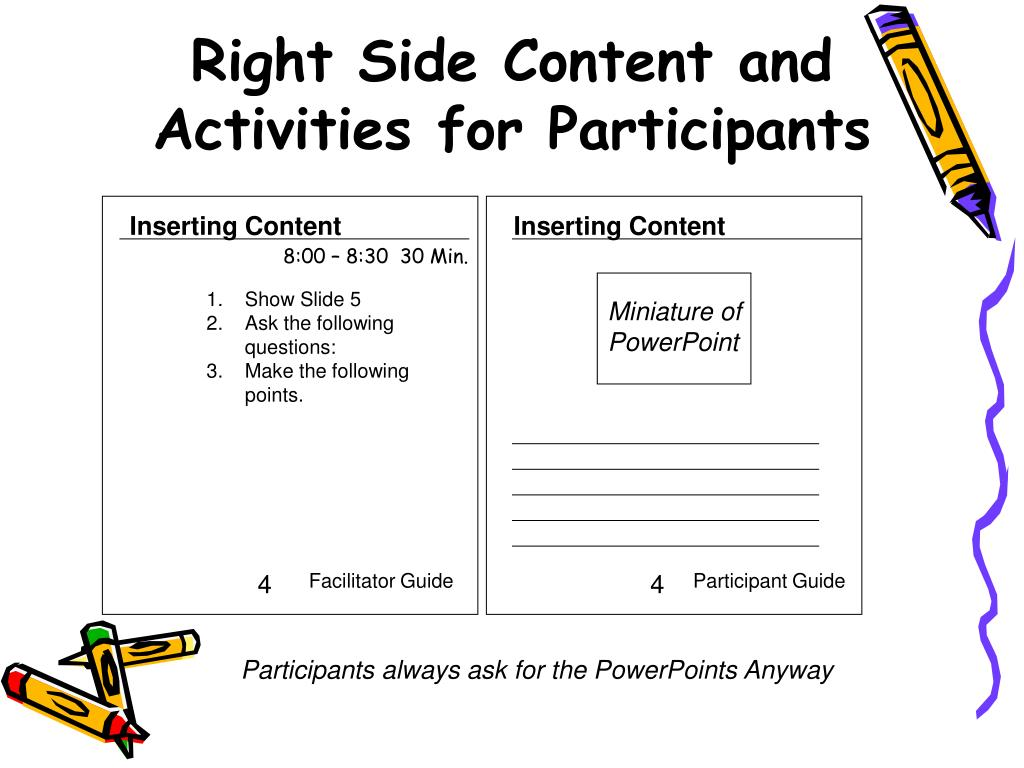 Right Side Content and Activities for Participants