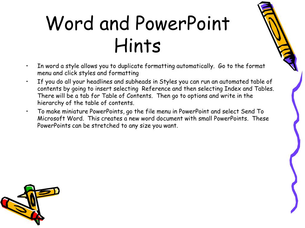 Word and PowerPoint Hints