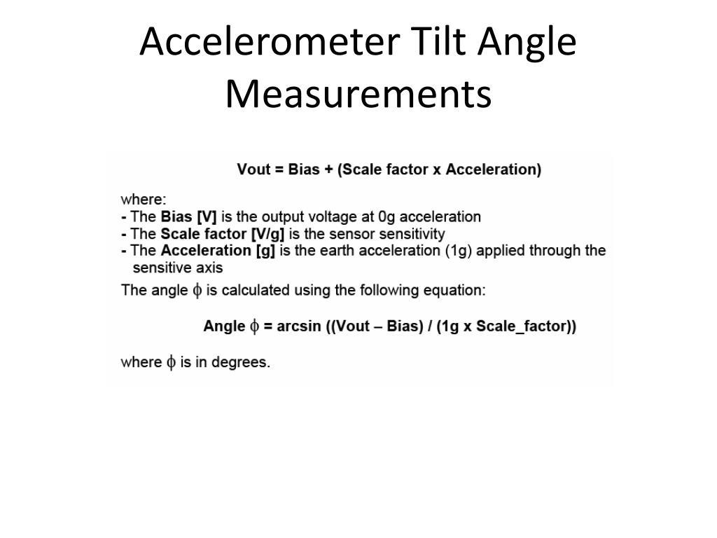 Accelerometer Tilt Angle Measurements