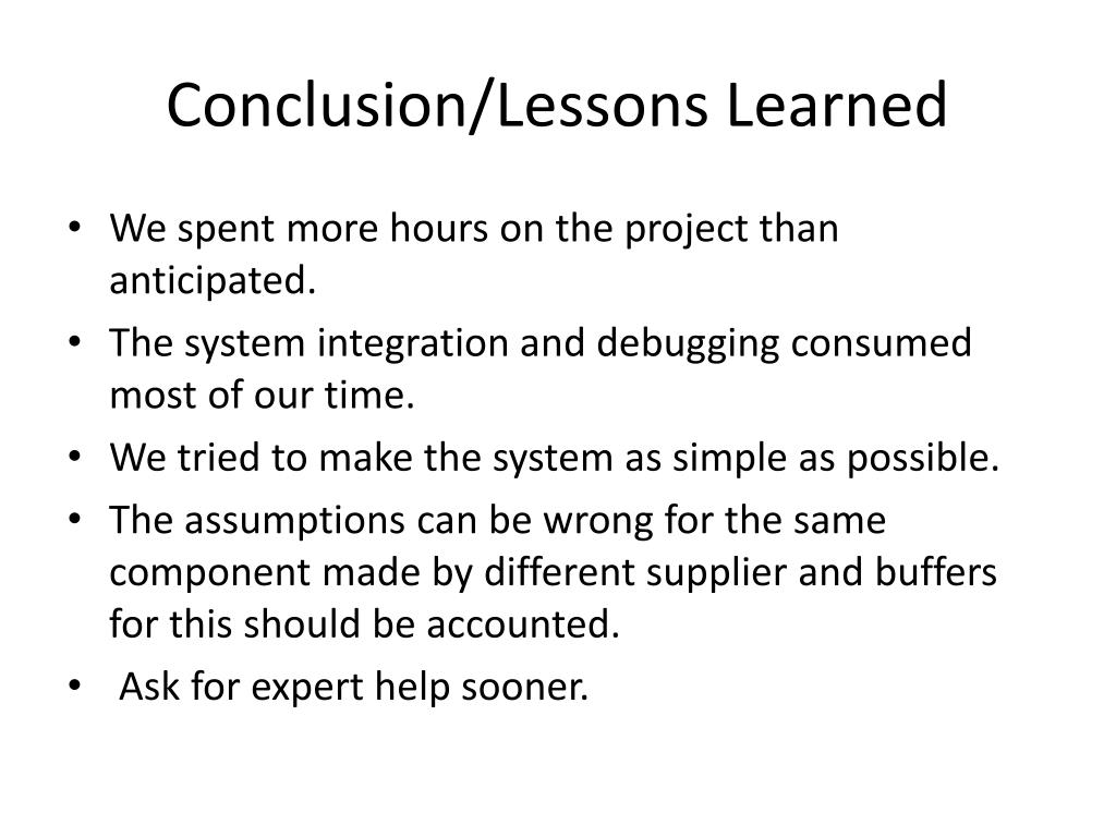 Conclusion/Lessons Learned