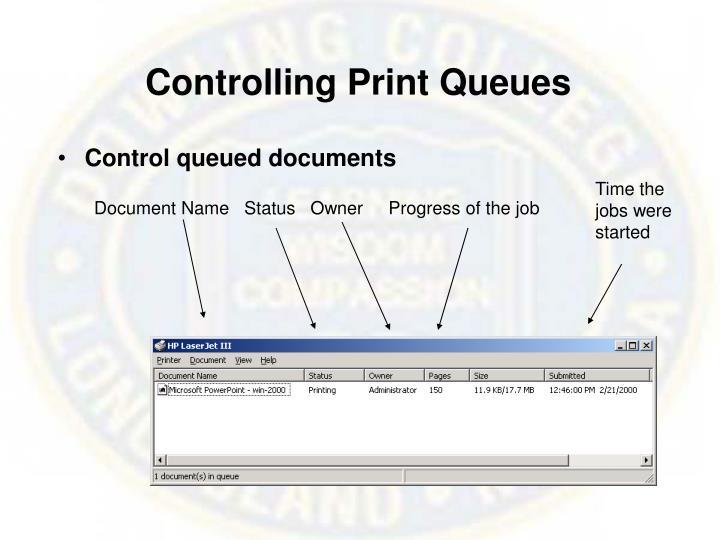 Controlling Print Queues