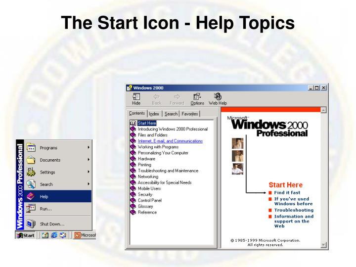 The Start Icon - Help Topics