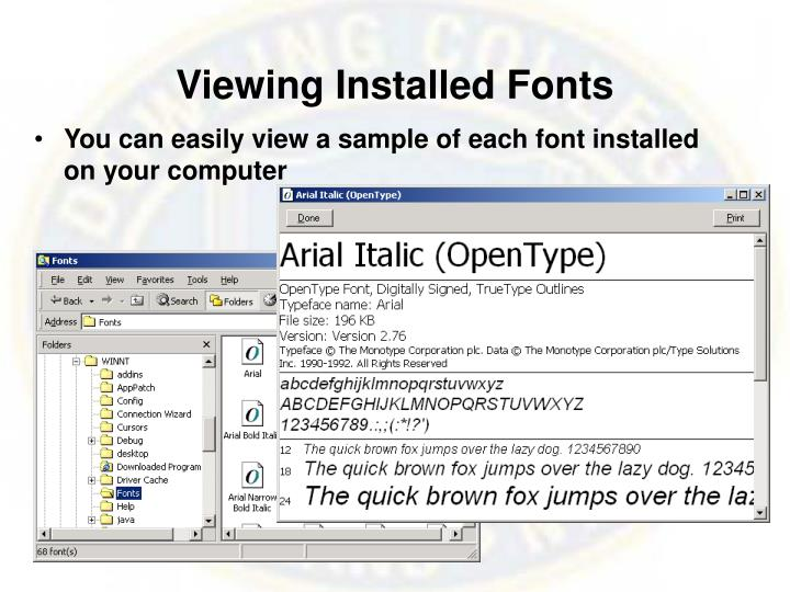 Viewing Installed Fonts