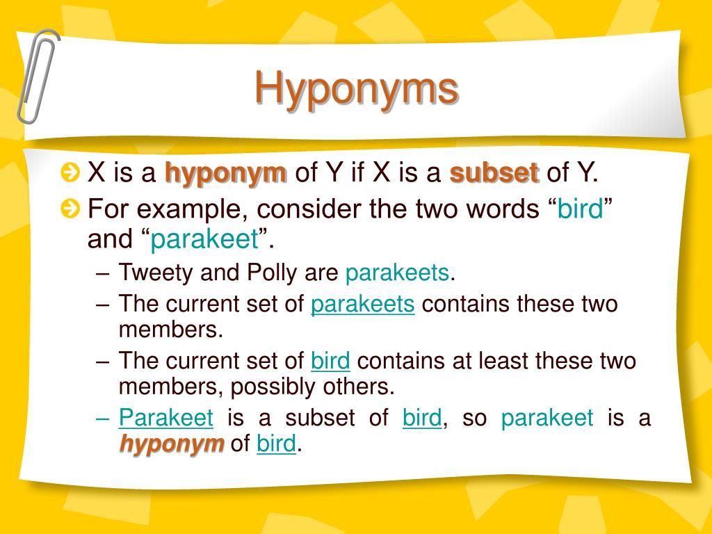 Hyponyms