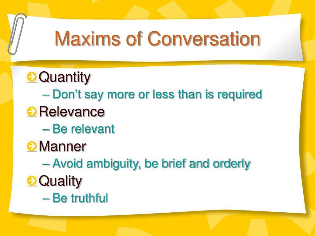 Maxims of Conversation