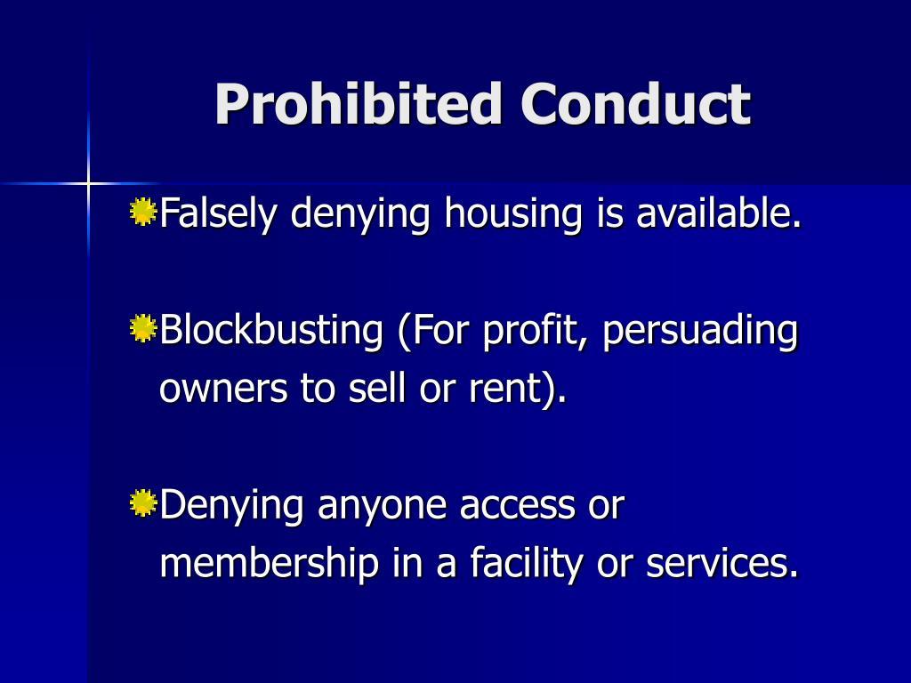 Prohibited Conduct