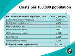 costs per 100 000 population