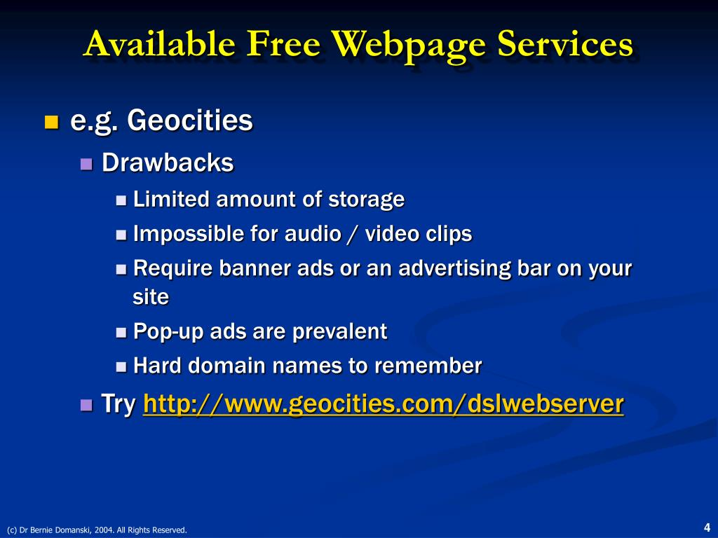 Available Free Webpage Services