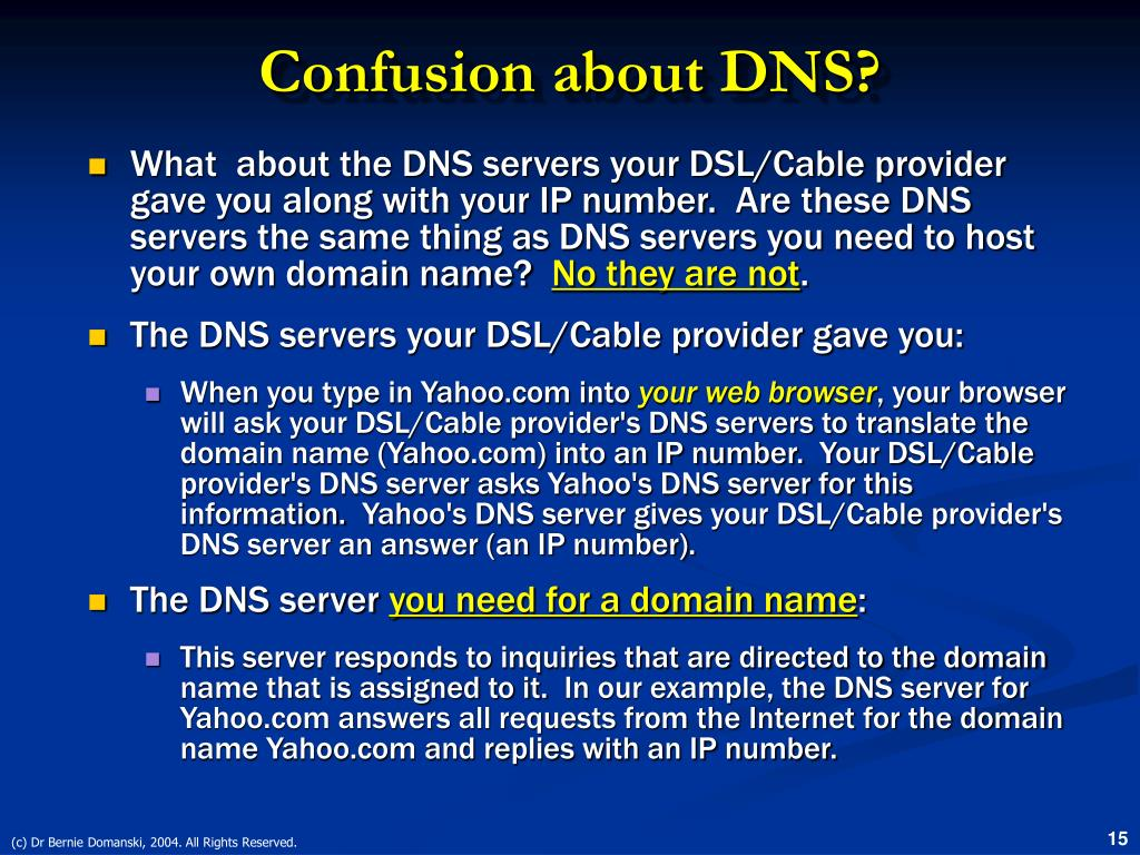 Confusion about DNS?
