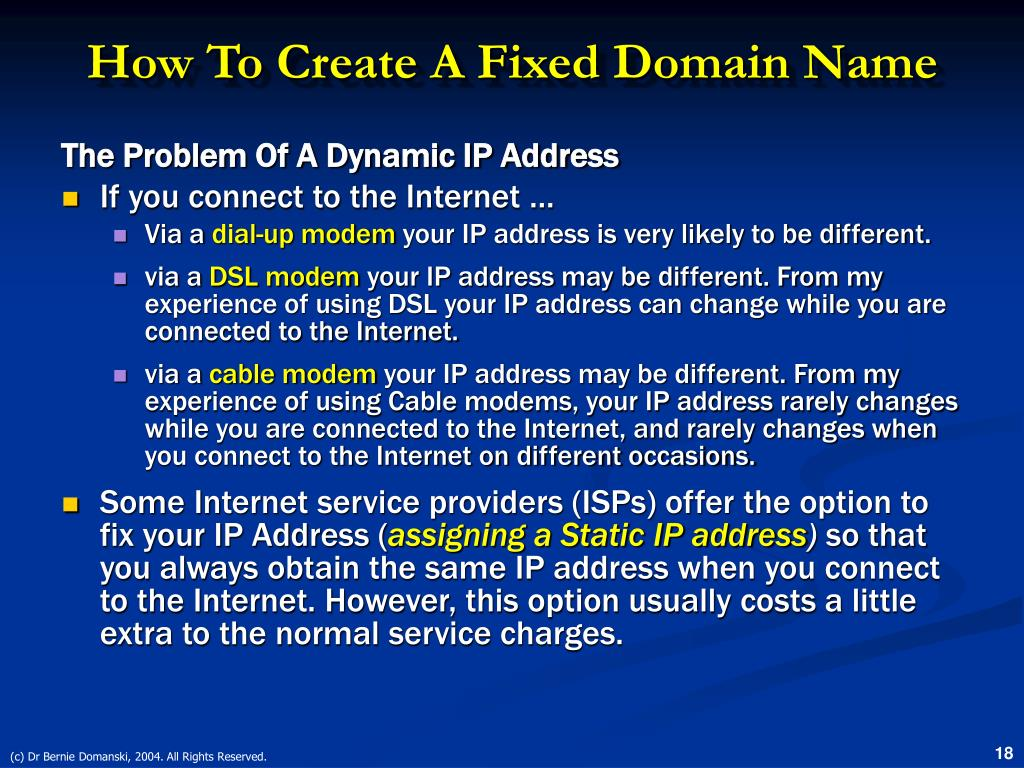 How To Create A Fixed Domain Name