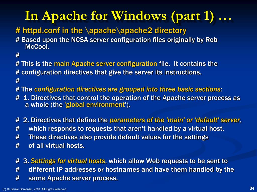In Apache for Windows (part 1) …