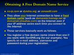 obtaining a free domain name service