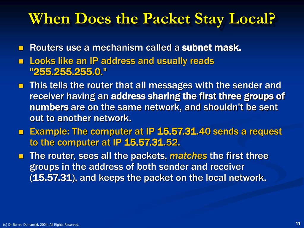 When Does the Packet Stay Local?