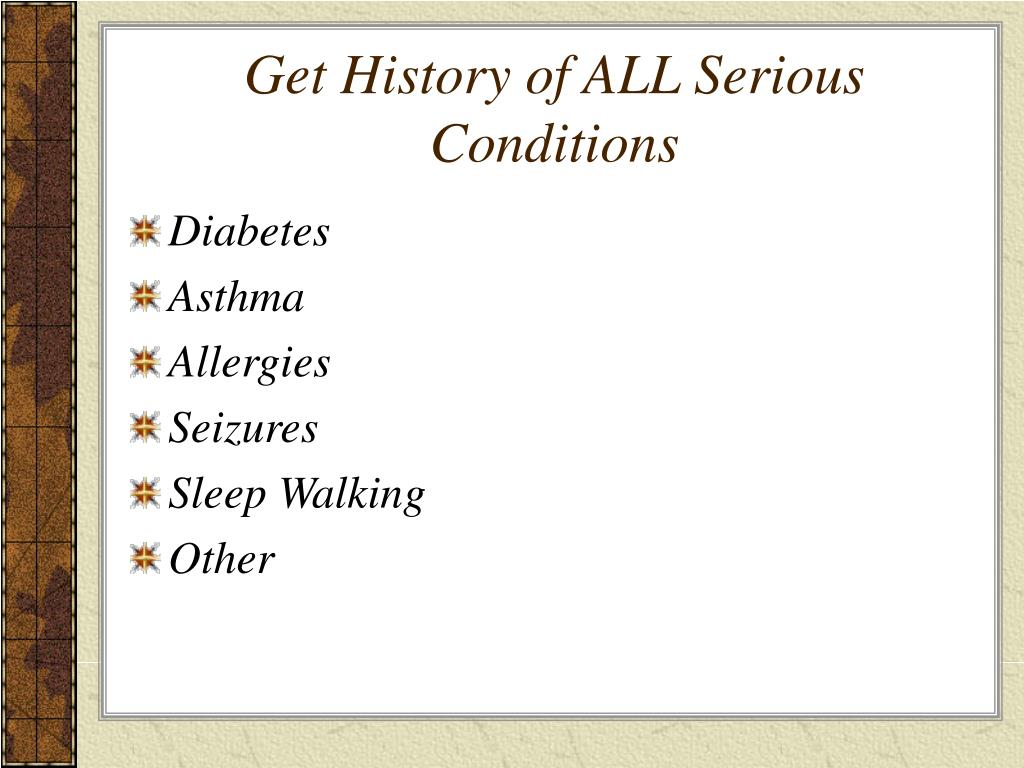 Get History of ALL Serious Conditions