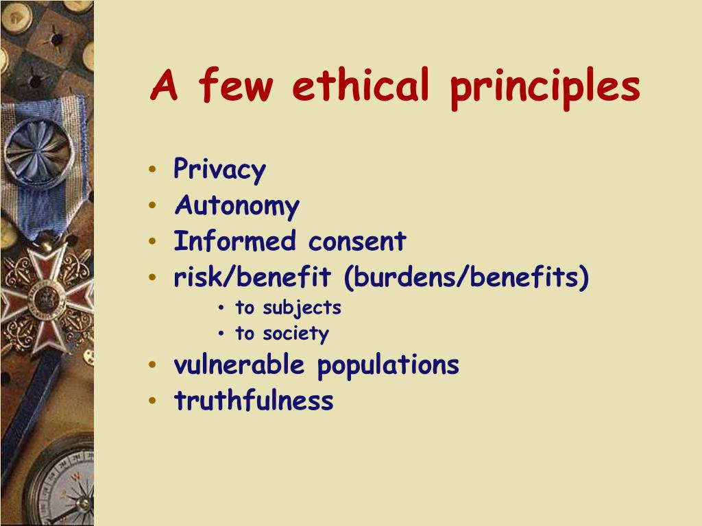 A few ethical principles