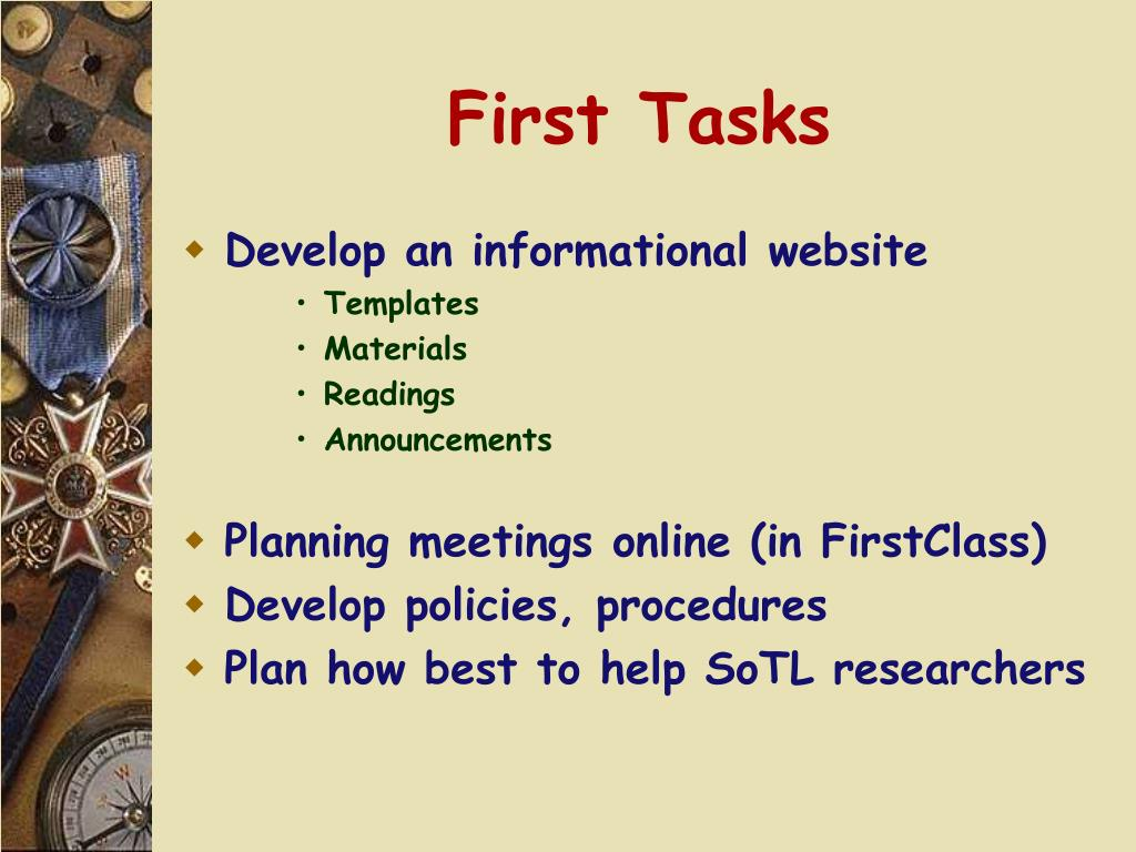 First Tasks