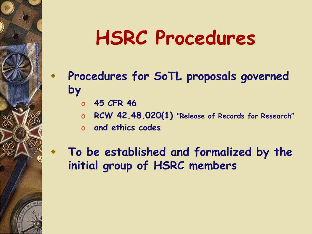 HSRC Procedures