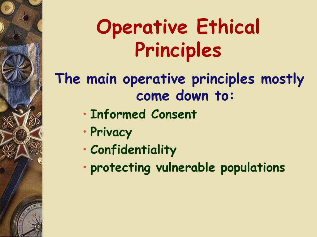 Operative Ethical Principles
